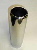 Exhaust tip - Universal, round, chrome, rolled, 3.5inch, 12 inch length, 3.0 inch inlet
