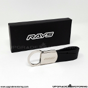 Rays Engineering - Limited Edition Premium RAYS Key Chain - Black Leather Strap/Chrome with Etched RAYS logo.