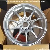 Volk Racing CE28N 17x7.5 5x114.3 +50 Titanium Silver. New. Forged Monoblock construction. Made by Rays Engineering in Japan. Weighs approximately 13 lbs each. 10 spoke wheel design.