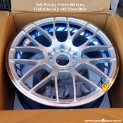 Volk Racing FZero Winning 17x8.0 5x114.3 +45 Silver/Blue. New! Singlea. No Center caps. Forged Two Piece Construction. Made by Rays Engineering. Made in Japan. Discontinued