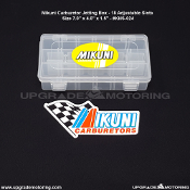 "Mikuni Carburetor -Jetting Box (Case) - 18 Slots - Adjustable. With Mikuni decal. Size 7"" X 4"" X 1.5"". Plastic. Genuine Mikuni KHS-024."