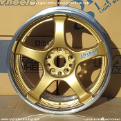 Gram Lights 57Pro Wheel 18x9.0 5x114.3 +40 Gold. Single. Original style lip. Not Stainless Steel Lip. Discontinued. Authorized Gram Lights Wheel Distributor