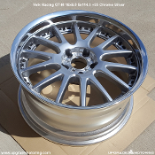 Volk Racing GT-M 18x9.0 5x114.3 +33 Silver. Blem - Single. Small ding on lip. Two piece wheel. Forged outer, cast center. Made by Rays Engineering. Made in Japan. Discontinued model,